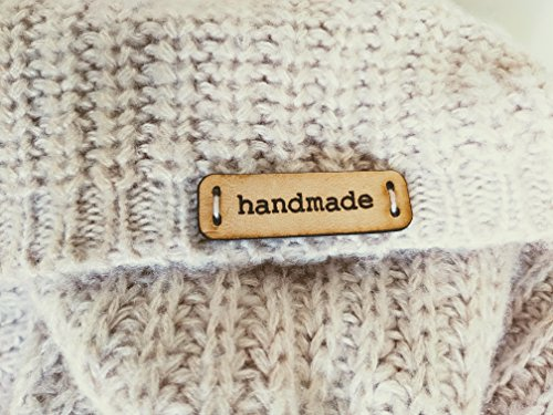 """Leather Labels""""Handmade"""" Mod. C - Exclusive Engraved Genuine Italian Leather Tags (Customized Text - 15 Pieces)"""