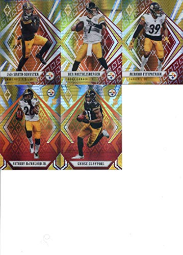 2020 Phoenix Fire Burst Pittsburgh Steelers Team Set of 5 Cards: JuJu Smith-Schuster(#1), Ben Roethlisberger(#2), Minkah Fitzpatrick(#3), Chase Claypool(#126), Anthony McFarland Jr.(#140)