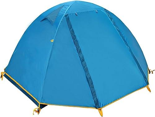 Zhanghongshop 2 Personnes en Plein air Tente Camping épais Famille imperméable à la Pluie Camping Auto Conduite Double Tente Simple Double Double Couche Coupe-Vent imperméable (Couleur   bleu)