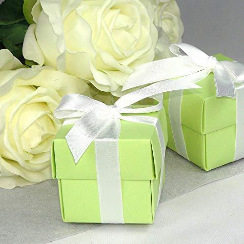 Einssein 12x Caja de Regalo Boda Inbox Verde Claro Cajas Bonitas para cajitas Regalos Bombones Carton bolsitas Papel chuches Bodas Bautizo pequeñas pequeña recordatorios comunion Navidad Decorar