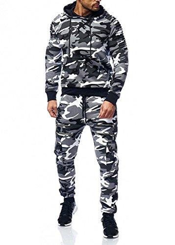 Herren Jogginganzug Camouflage Sportanzug Jogging Army Grau Camou S