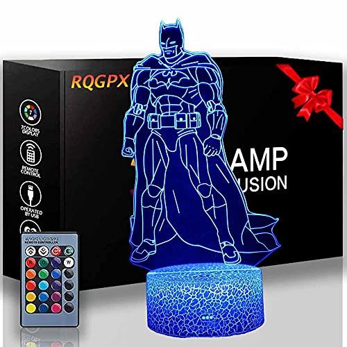 Bruce Wayne - Lámpara de escritorio para niños, 3D, 16 colores, luz cambiante, con mando a distancia, decoración de dormitorio, regalo para niños y niñas