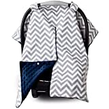 Car Seat Canopy and Nursing Cover Up with Peekaboo Opening - Chevron Navy Blue