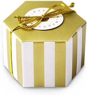 Sexkantig godislåda, med små gyllene ränder och prickar som temadesign, används för födelsedagsfest bröllop baby shower de...