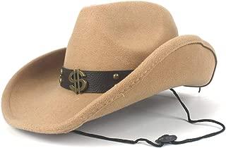 JAUROUXIYUJI New Women Men Wool Hollow Western Cowboy Hat for Gentleman Roll Up Brim Sombrero Cap Dad Hat with Punk Belt (Color : Beige, Size : 56-59cm)