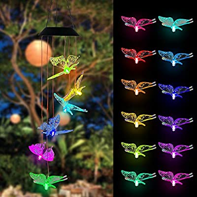 FUNPENY Solar Wind Chimes for Outdoor, LED Butterfly Waterproof Color Changing Lights Mobile Wind Chime for Yard Garden Holiday,Home,Outside,Indoor Decor