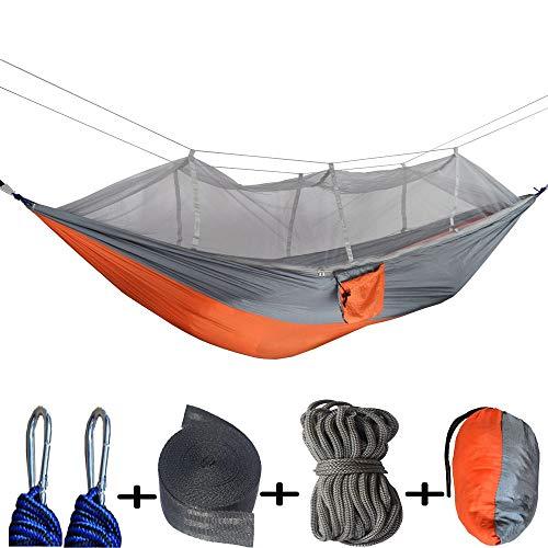 Camping hamac avec moustiquaire, Portable hamac ultra-léger en parachute en nylon 2 personne Voyage Hamac Camping, randonnée Pour Patio Yard Garden Backyard Porch Travel