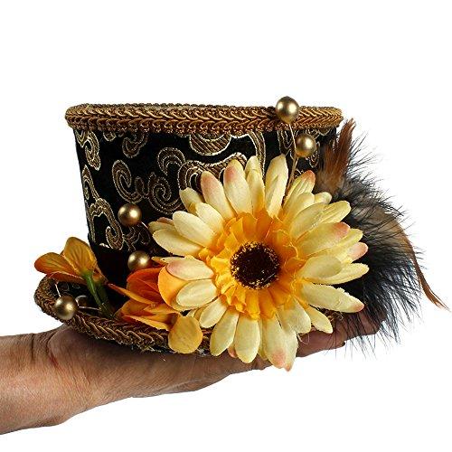 Con Feather Flower Mad Tea Party, Micro Mini Top Hat, dorado y negro, sombrero de desfile, Alicia en el país de las maravillas, sombrero de sombrerero loco, mini sombrero de fiesta de té, gorro de duc