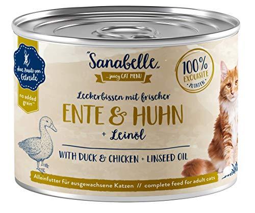 Sanabelle Nassfutter Leckerbissen mit Ente & Huhn | 6 x 195 g | 1.17 kg