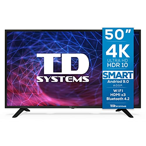 TD Systems K50DLJ11US - Televisores Smart TV 50 Pulgadas 4K Android 9.0 y HBBTV, 1500 PCI Hz UHD HDR, 3X HDMI, 2X USB. DVB-T2 C S2, Modo Hotel. Televisiones