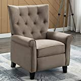 IOMOR Recliner Elizabeth Accent Chair for Living Room Easy to Push Mechanism, Elegant Single Chair with Roll Arm (Khaki)