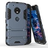 Funda para Motorola Moto G5 (5 Pulgadas) 2 en 1 Híbrida Rugged Armor Case Choque Absorción Protección Dual Layer Bumper Carcasa con Pata de Cabra (Azul Negro)