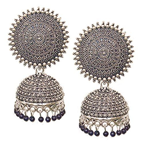 Pahal Jaipur - Pendientes de plata Jhumka con perlas azules pintadas en forma de perla azul del sur de la India Bollywood para mujer