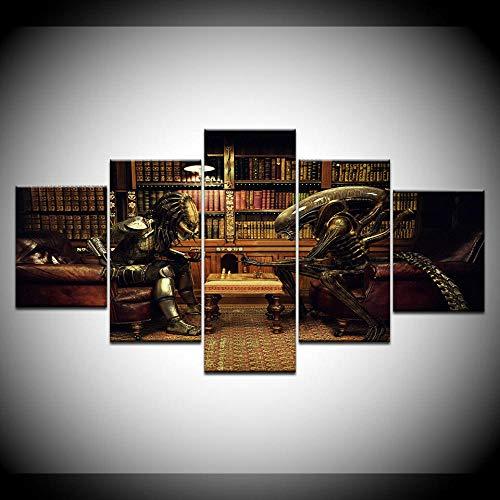 VENDISART,Impresiones sobre Lienzo,Modular Decoración De Pared Póster,5 Piezas Cuadro,Aliens Vs Predator Chess,con Marco,Talla:150 * 80Cm