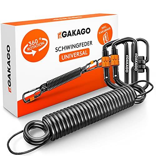Gakago Schwingfeder für Hängesessel - Angenehmes Schwingen durch 360° Feder mit Drehwirbel - Extra sicheres Stahlfeder Set mit Sicherungsedelstahlseil und 2 Karabiner mit Schraubverschluss