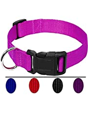 AEDILYS Adjustable Nylon Dog Collar Classic Solid Colors for Small Sized Dogs Neck 11-17 inch
