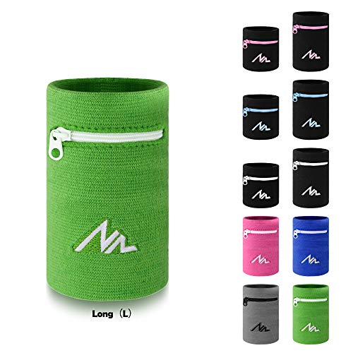 NEWZILL Wrist Wallet (Wristband) with Zipper - for Running, Walking, Basketball, Tennis, Hiking, Cross-Fit and More (Black/Pink-S)