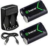 Smatree rechargeable Batterie pour Xbox One / Xbox One S / Xbox one X Contrôleur/Manette Xbox Elite , Batterie NI-MH 2000mAH (pack de 2) + chargeur double canal