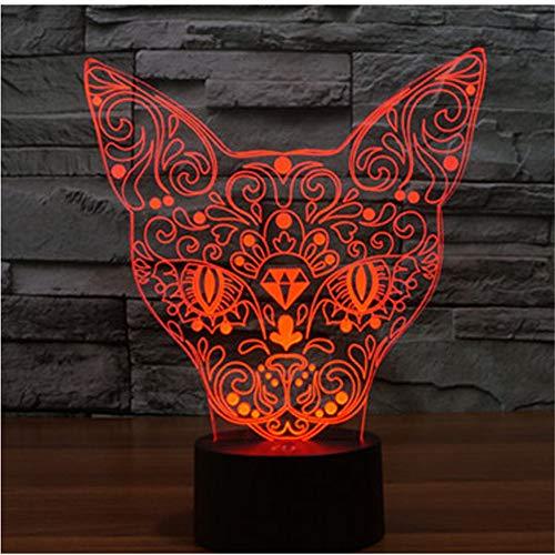 Lampe de lumière 3D Night Illusion, s chat devant avec 7 couleurs de lumière pour la lampe de décoration à la maison Amazi, lampe visuelleoptique