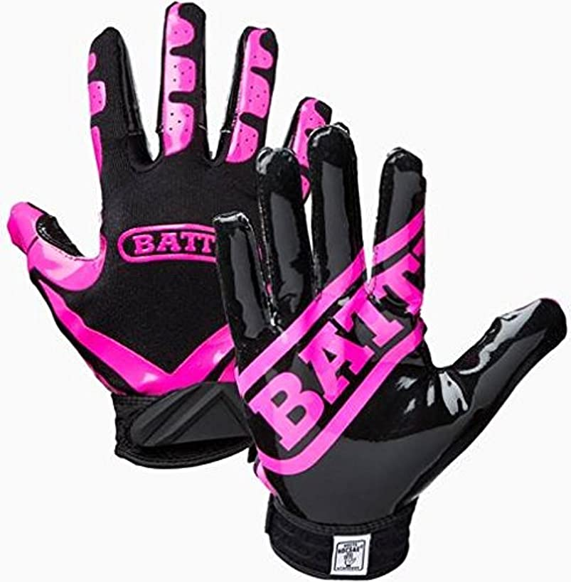 Battle Football Glove, Pink/Black, Adult Medium