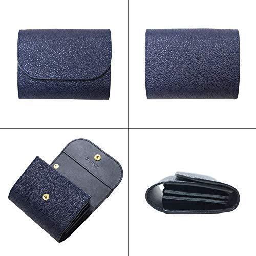 [コトカル]ミニ財布本革黒桟革お札が折れない本藍