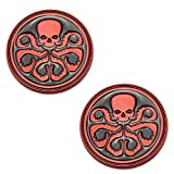 CARRUN 2PCS 3D HYDRA Skeleton Skull Octopus Animal Hot Metal Stickers Car Styling Motorcycle Accessories Badge Label Emblem Car Stickers (Black-Red)