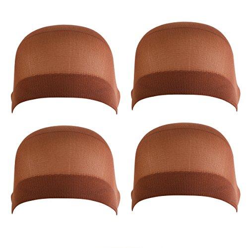 Frcolor 4pcs Wig Caps Brown Soft Capuchon de perruque élastique confortable