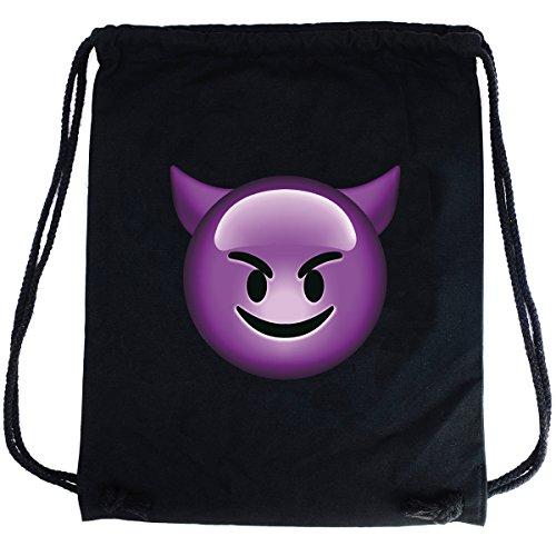 PREMYO Bolsa de Cuerdas Saco de Gimnasio Deporte Mochila Mujer Hombre con Impresión Emoji Diablo Práctico Cómodo Cordón Robusto Algodón Negro
