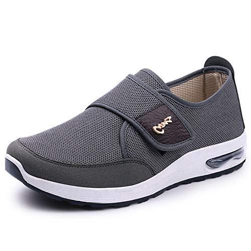 B/H Zapatosparadiabéticos,Zapatosdetelaajustablesparapersonasdemedianaedadyancianos,zapatoscasualesparaancianos-Gray_39,UnisexPuntaAbiertaAnchoAjustable