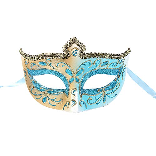 BLEVET Creative Lace Masquerade Mask for Women/Girl Cosplay Party Halloween Carnivals Mardi Gras Masks BK018 (Blue)