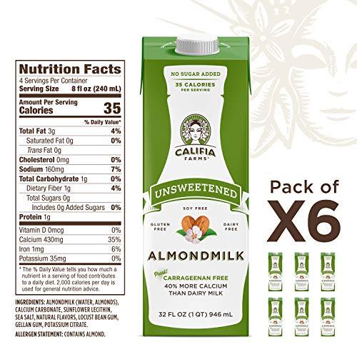 Califia Farms Shelf Stable Unsweetened Almondmilk, Dairy Free, Whole30, Keto, Vegan, Plant Based, Nut Milk, Non-GMO, 32 Fl Oz, Pack of 6