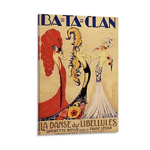 JHDSL Póster vintage de Bataclan Theatre Francés, arte decó, póster artístico y arte de pared, póster moderno para decoración de dormitorio familiar, 20 x 30 cm
