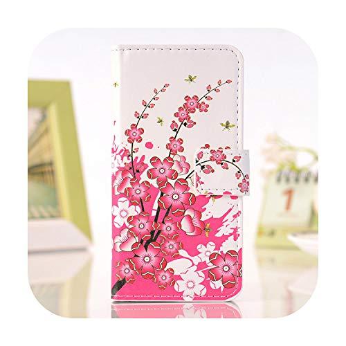 Cover per Microsoft Nokia Lumia N 950650925520 X 535930640540635 950X, in pelle PU, a portafoglio, motivo: farfalla Peint-Plum Blossom-N635 630