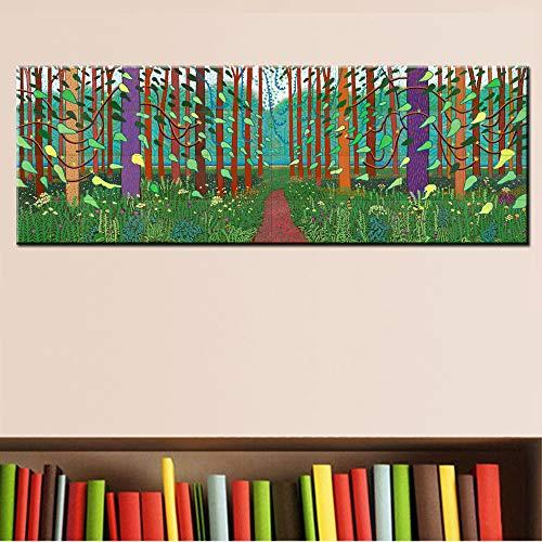 N / A Winter Holz Ölgemälde Riesen Poster gedruckt auf Leinwand für Wandmalerei für Wohnzimmer Home Decoration Rahmenlos 40x120cm