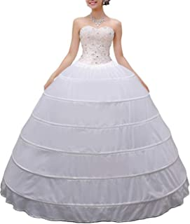 MISSVEIL Women Crinoline Petticoat A-line 6 Hoop Skirt Slips Long Underskirt for Wedding Bridal Dress Ball Gown