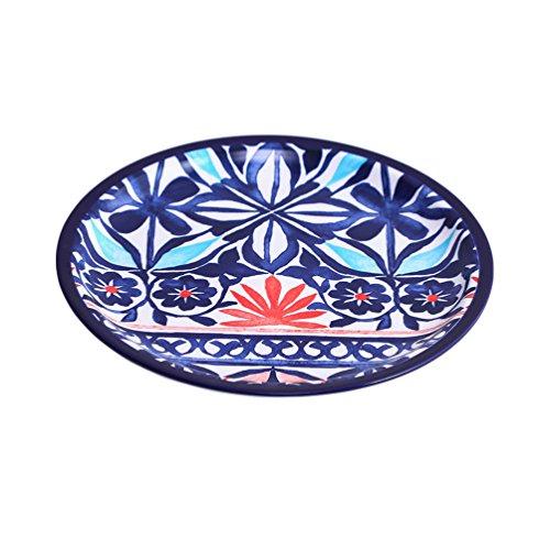 Baoyouni rétro en céramique Forme ronde Dish Assiette Vaisselle coloré Motif fleur 27 x 2.4 cm