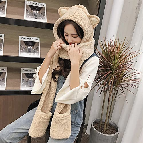 FJZAD Three- Piece Winter hat with one Finger, Korean Version of Parent- Child Padded Scarf, Student Girl, Double Padded hat/Scarf/Gloves (Color : Beige)