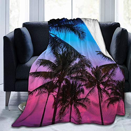 Ultra-Soft Micro Fleece Blanket,Miami Beach South Beach Sunset Palm Trees in Ocean Drive Florida,Home Decor Warm Throw Blanket for Couch Bed,60'X 50'