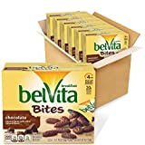 Six boxes with 5 packs each, 30 total packs, of belVita Chocolate Mini Breakfast Biscuit Bites Mini chocolate breakfast biscuits made with whole grains Specially baked to release up to 4 hours of nutritious steady energy No high-fructose corn syrup a...
