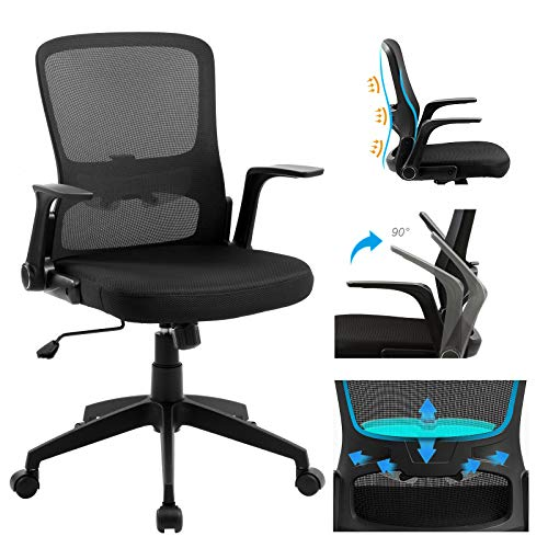 ANACCI Mid-Back Office Desk Chair, Ergonomic Computer Chair with Adjustable Lumbar Support, Flip-up Armrests, Rocking Backrest, Weight Hold Up to 250Ibs-Adjustable Height Mesh Chair for Office &Home