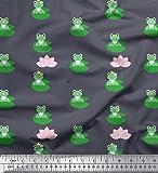 Soimoi Grau Baumwoll-Voile Stoff Lotus & Frosch Kinder