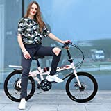Exercise Bike,Mountain Bike, Leisure Bicycle 20in 7 Speed City Folding High Tensile Leisure Lightweight Aluminum Mini Compact Bike Urban Commuters Outdoor Bikes for Men Women (White)