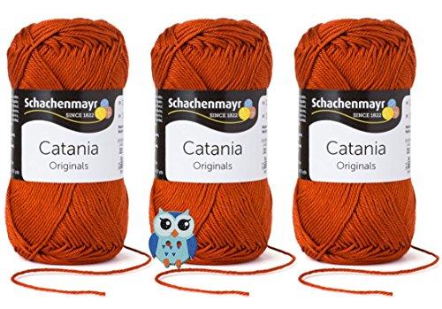 Schachenmayr Catania Wolle 3x50 Gr, 100% Baumwolle + 1 Eulen Knopf (Farbreihe 300-399) (388 Terracotta)