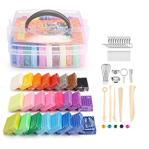 Polymer Clay, Bearals Soft Oven Baking Clay, DIY Modeling Clay with Sculpting Tools, Polymer Clay Starter Kits for Kids, Adults (24 Colors)