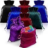 8 Pieces Velvet Tarot Rune Bag Velvet Drawstring Bag Tarot Bag Bundle 6 x 9 Inch Velvet Pouch Jewelry Bags, Moss Green, Royal Blue, Purple, Wine Red, Rose, Black