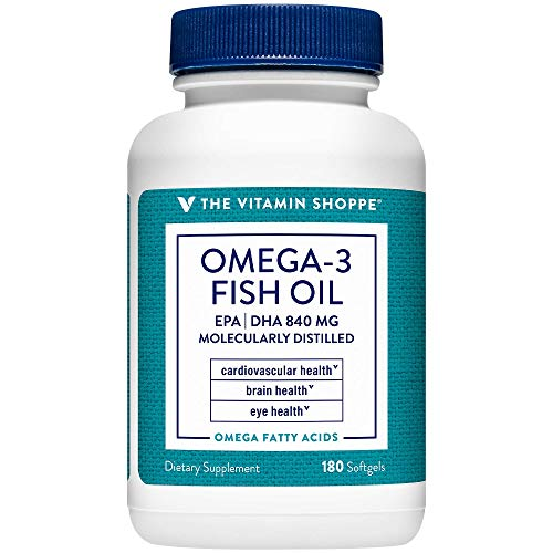 The Vitamin Shoppe Omega 3 Fish Oil 1100mg, EPA 600mg DHA 240mg, Purity Assured, Molecularly Distilled to Support Cardiovascular, Joint and Brain Health (180 Softgels)