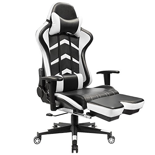 Furmax White Gaming Chiar with Footrest