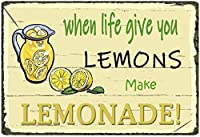 人生があなたにレモンを与えるときレモネード、ブリキの看板、ヴィンテージの鉄の絵の金属板ノベルティ装飾クラブカフェバー