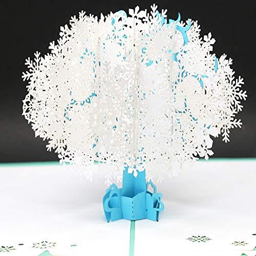 EVE3Dgreetingcardクリスマススノーフレークツリー3Dポップアップグリーティングカードメリークリスマスかわいいクリスマスグリーティングカード三次元の紙彫刻はがきグリーティングカード