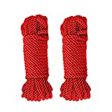 WYSUMMER Soft Polyester Rope,2Pcs 32feet/10m 8mm Twisted Twine Cord Natural Utility Durable Long (2red)